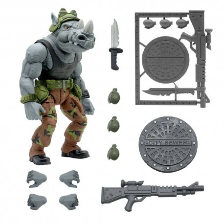 Tortugas Ninja Figura Ultimates Rocksteady 20 cm Super 7