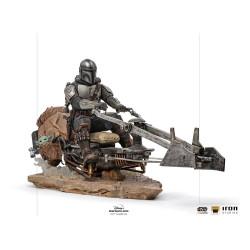 Star Wars The Mandalorian Estatua 1/10 Deluxe Art Scale Mandalorian on Speederbike 18 cm