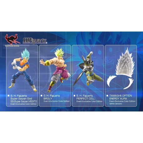 Pack Dragon Ball SH Figuarts Broly, SSGSS Vegetto, Perfect Cell, Aura Transparente Salon del Manga