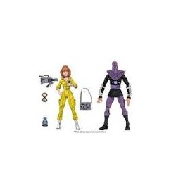 April O-Neil & Foot Soldier Pack 2 Figuras 18 CM Scale Action Figure TMNT Cartoon Series 3 Neca